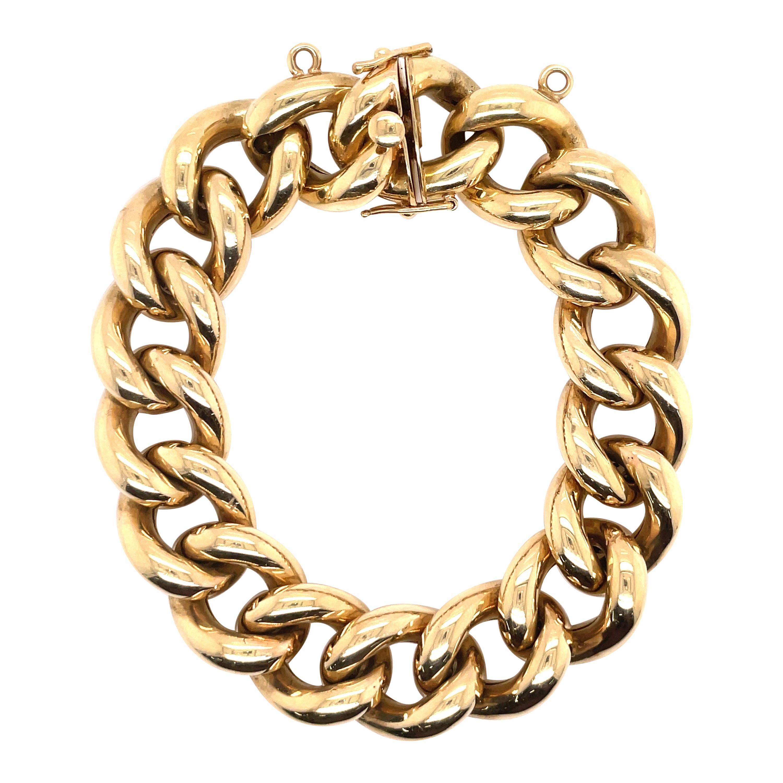 14 Karat Yellow Gold Link Bracelet 53.4 Grams