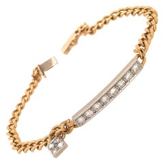 14 Karat Yellow Gold Link Chain with Diamond Bar Bracelet