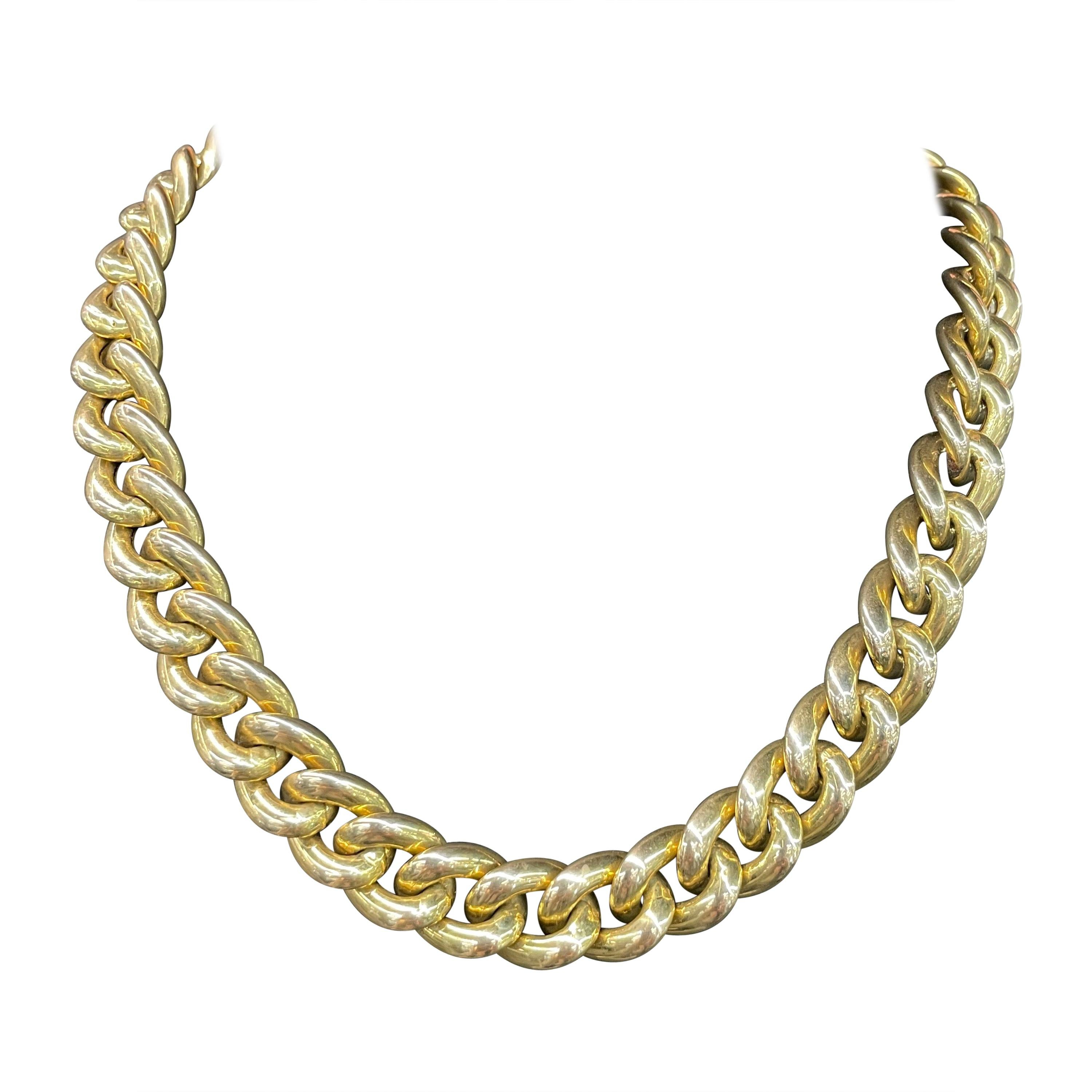 14 Karat Yellow Gold Link Necklace 47.6 Grams Made in Italy