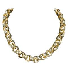 14 Karat Yellow Gold Link Necklace Made in Turkey 62.2 Grams
