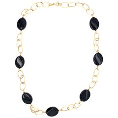 14 Karat Yellow Gold Link Necklace with Ebony Stones 21.2 Grams Total