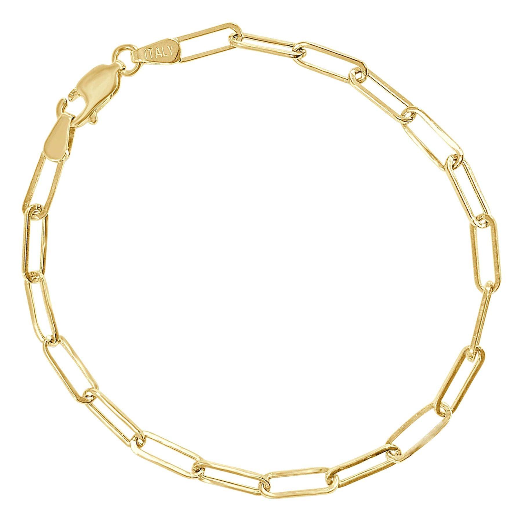 14 Karat Yellow Gold Link Paperclip Chain Bracelet 1.7 g