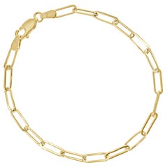 14 Karat Yellow Gold Link Paperclip Chain Bracelet