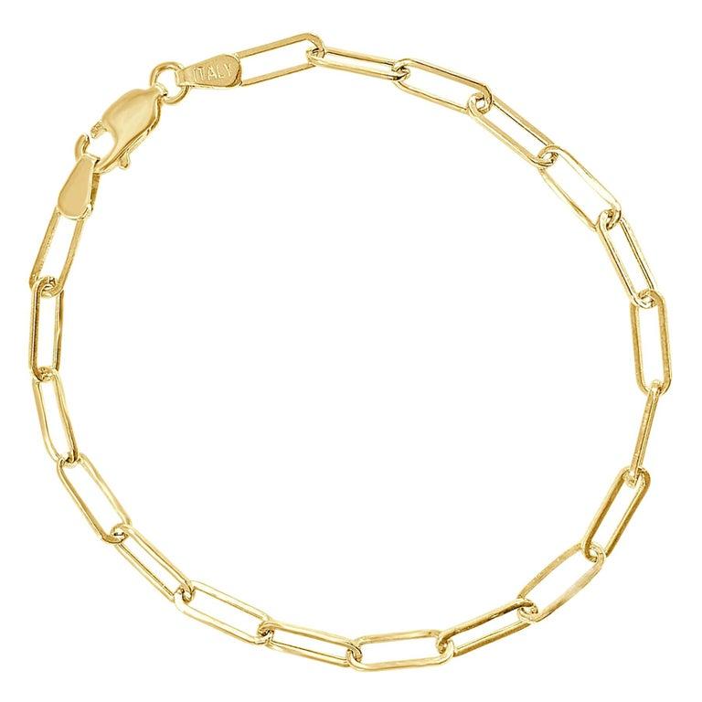 14 Karat Yellow Gold Link Paperclip Chain Link Bracelet 1.7 g For Sale