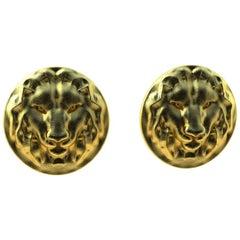 18 Karat Yellow Gold Lion Earrings