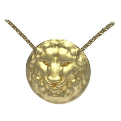 14 Karat Yellow Gold Leo Lion Pendant Necklace