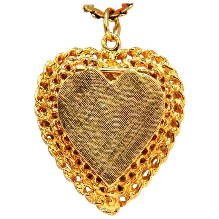 14 Karat Yellow Gold Locket Heart Pendant and Chain ...