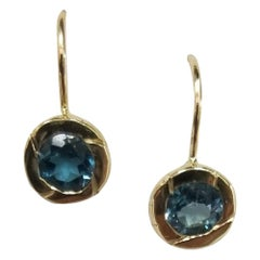 14 Karat Yellow Gold London Blue Topaz Bezel Set Earrings