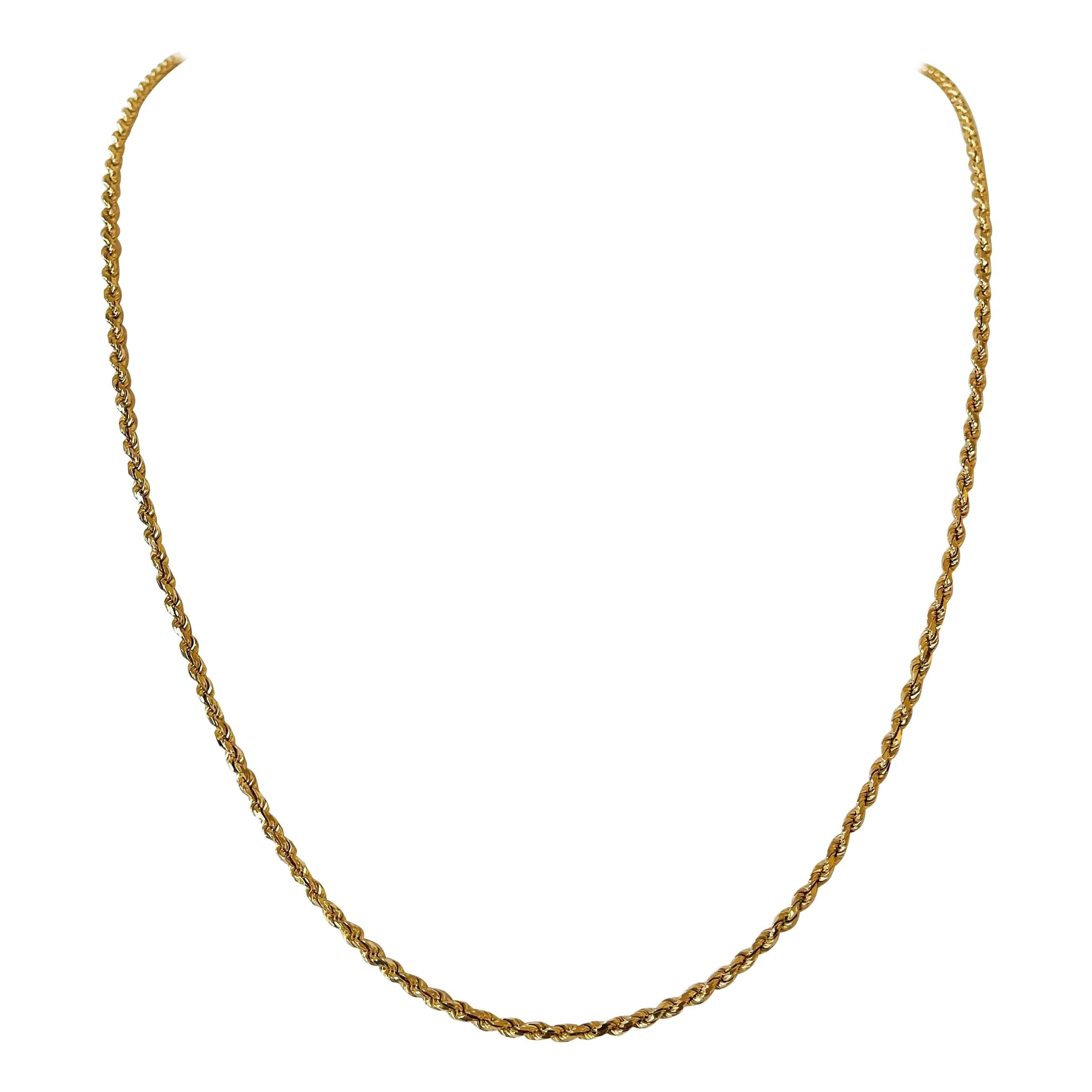 14 Karat Yellow Gold Long Solid Diamond Cut Rope Chain Necklace