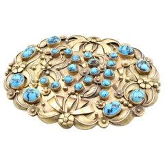 14 Karat Yellow Gold Luke Billy Yazzie Turquoise Belt Buckle