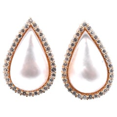 14 Karat Yellow Gold Mabe Pearl and Diamond Pear Shaped Earrings
