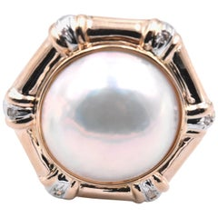 14 Karat Yellow Gold Mabe Pearl and Diamond Ring
