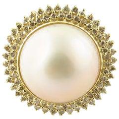 14 Karat Yellow Gold Mabe Pearl and Diamond Ring