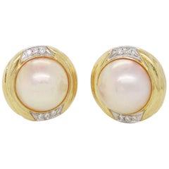 14 Karat Yellow Gold Mabe Pearl Diamond Post Earrings