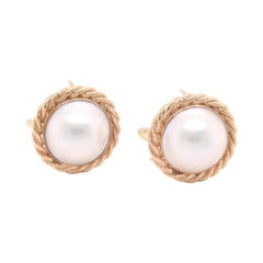 14 Karat Yellow Gold Mabe Pearl Stud Earrings