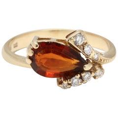 14 Karat Yellow Gold, Madeira Citrine and Diamond Ring