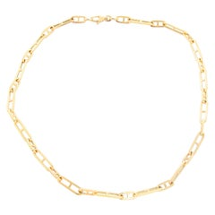 14 Karat Yellow Gold Mariner Link with Bar Chain Necklace