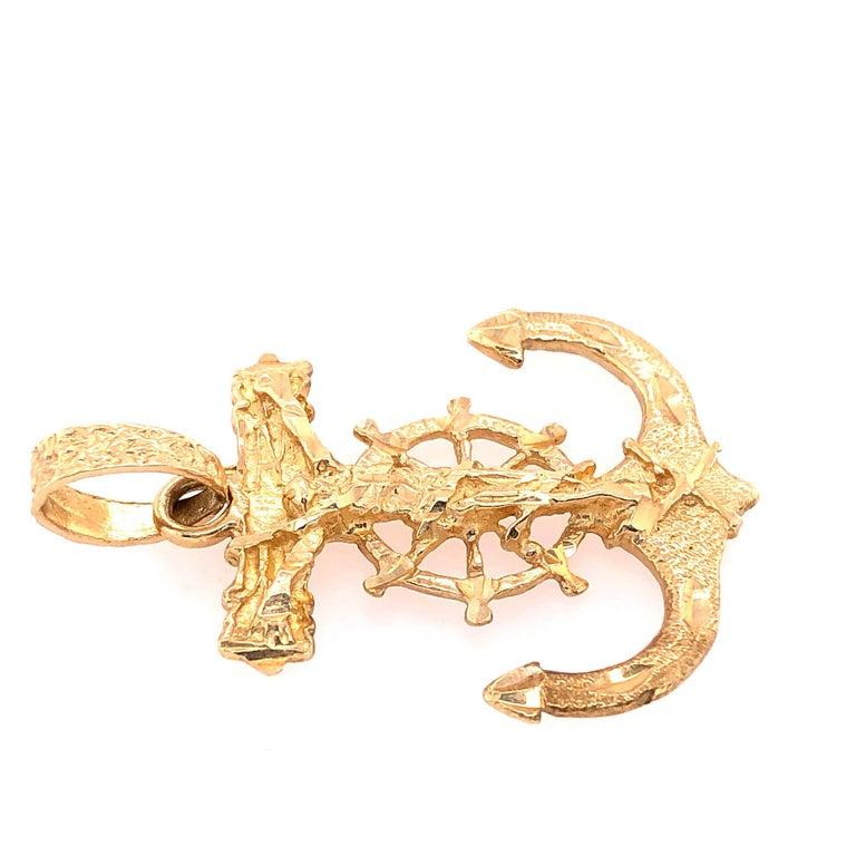 14 Karat Yellow Gold Maritime Charm / Pendant Anchor  5.2 grams total weight. Height: 40mm Weight: 28mm
