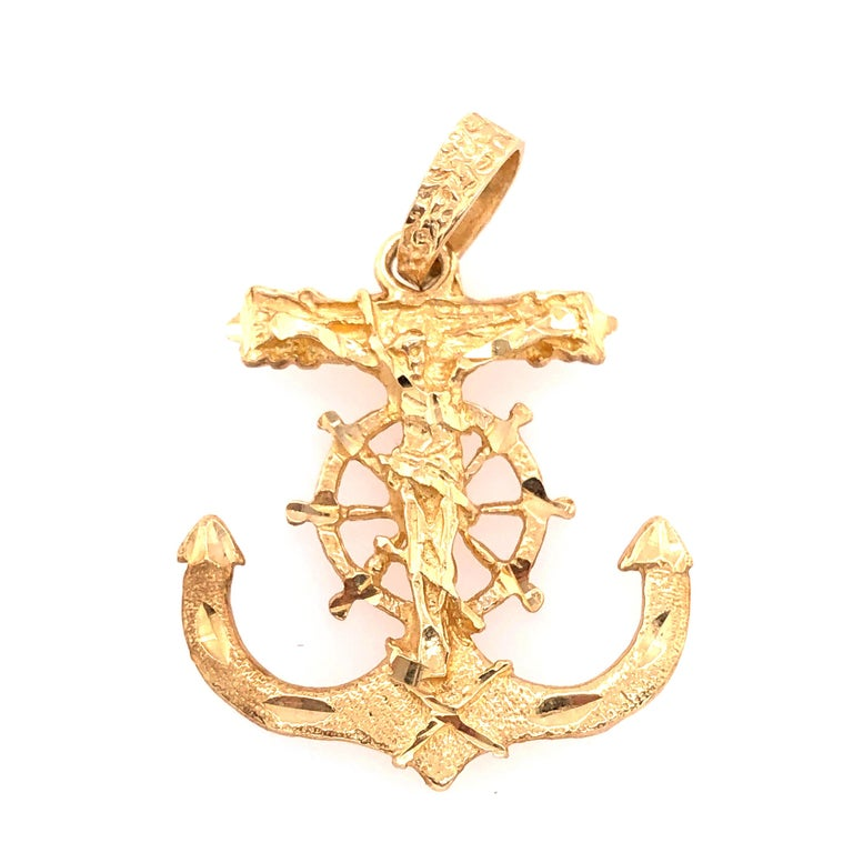 14 Karat Yellow Gold Maritime Charm / Pendant Religious Anchor In Good Condition For Sale In Stamford, CT