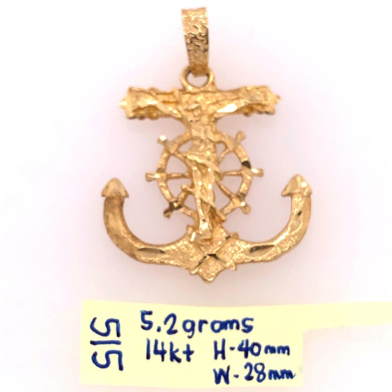 Women's or Men's 14 Karat Yellow Gold Maritime Charm / Pendant Religious Anchor For Sale