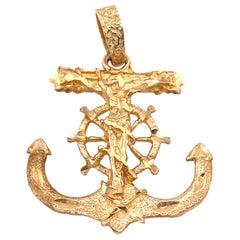 14 Karat Yellow Gold Maritime Charm / Pendant Religious Anchor