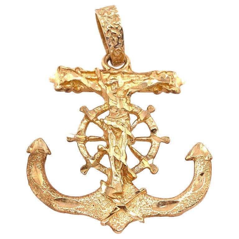 14 Karat Yellow Gold Maritime Charm / Pendant Religious Anchor For Sale