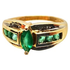 14 Karat Yellow Gold Marquise Cut Emerald Ring