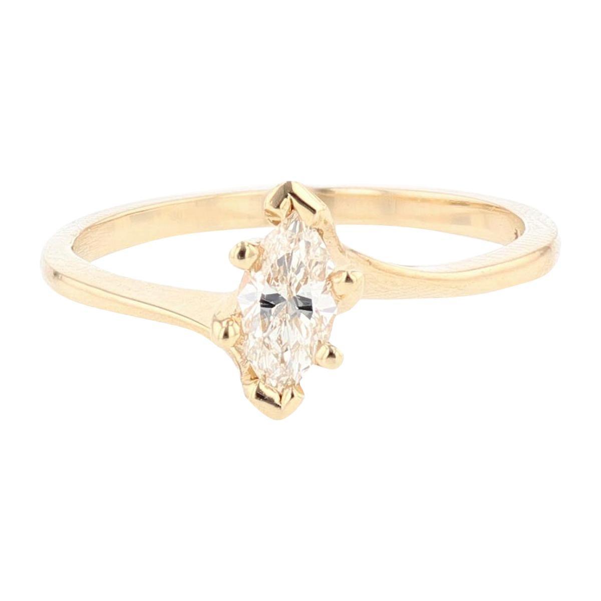 14 Karat Yellow Gold Marquise Diamond Solitaire Engagement Ring