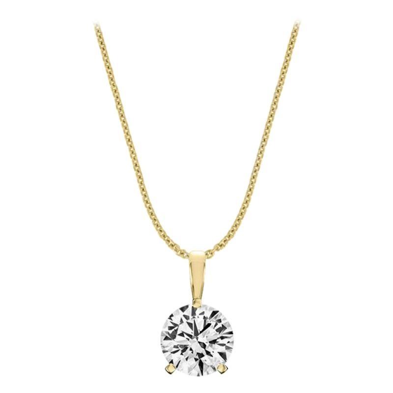 14 Karat Yellow Gold Martini 3 Prongs Natural Diamond Pendant '1 1/2 Carat'