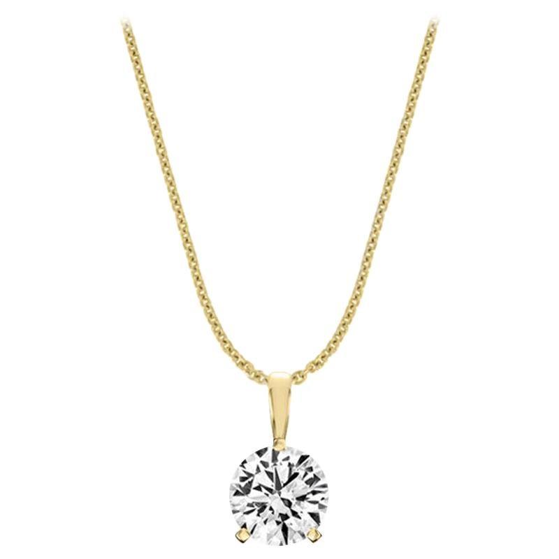 14 Karat Yellow Gold Martini 3 Prongs Natural Diamond Pendant '3/4 Carat'