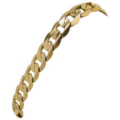 14 Karat Yellow Gold Men's Solid Heavy Curb Link Bracelet, Italy