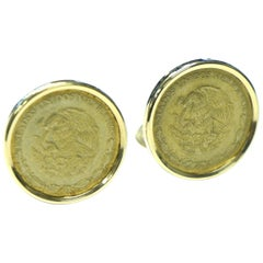 14 Karat Yellow Gold Mexican Coin Cufflinks