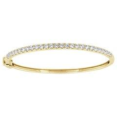 14 Karat Yellow Gold Micro-Prong Diamond Bangle '2 Carat'