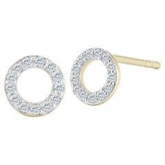 14 Karat Yellow Gold Mini Diamond Circle Stud