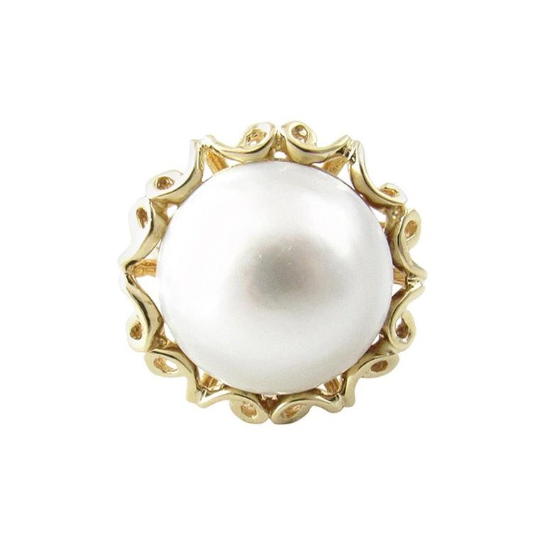 14 Karat Yellow Gold Mobe Pearl Ring For Sale