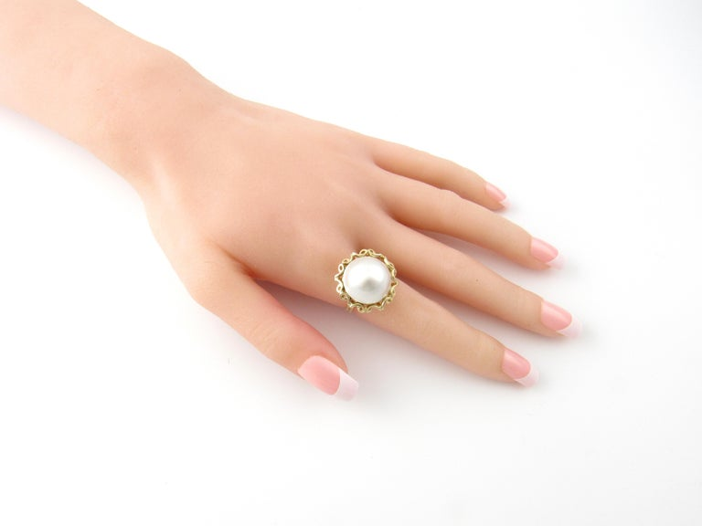 14 Karat Yellow Gold Mobe Pearl Ring For Sale 3