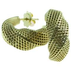 14 Karat Yellow Gold Mobius Earrings 360 Degrees Twist