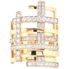 14 Karat Yellow Gold Modern Geometric Diamond Ring