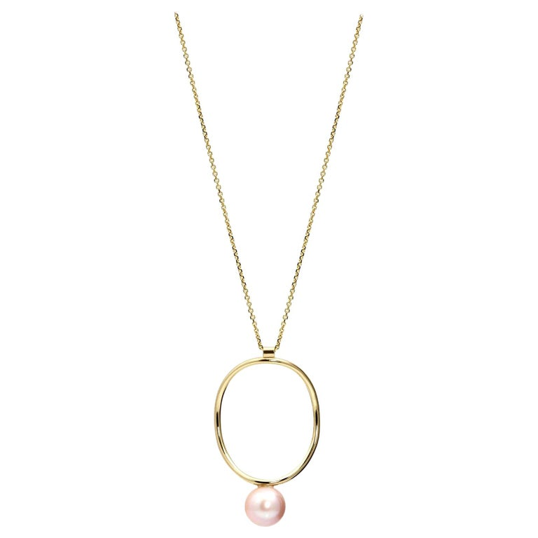 14 Karat Yellow Gold Modern Pearl Statement Necklace For Sale