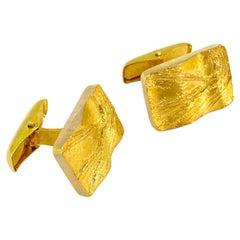 14 Karat Yellow Gold Modernist Cufflinks, Auran Kultaseppä Turku Finland