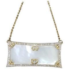 14 Karat Yellow Gold Mother of Pearl and Diamond Pendant