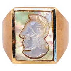 14 Karat Yellow Gold Mother of Pearl Cameo Contemporary Ring