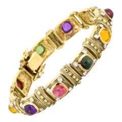 14 Karat Yellow Gold Multi-Color Gemstone Diamond Link Bracelet