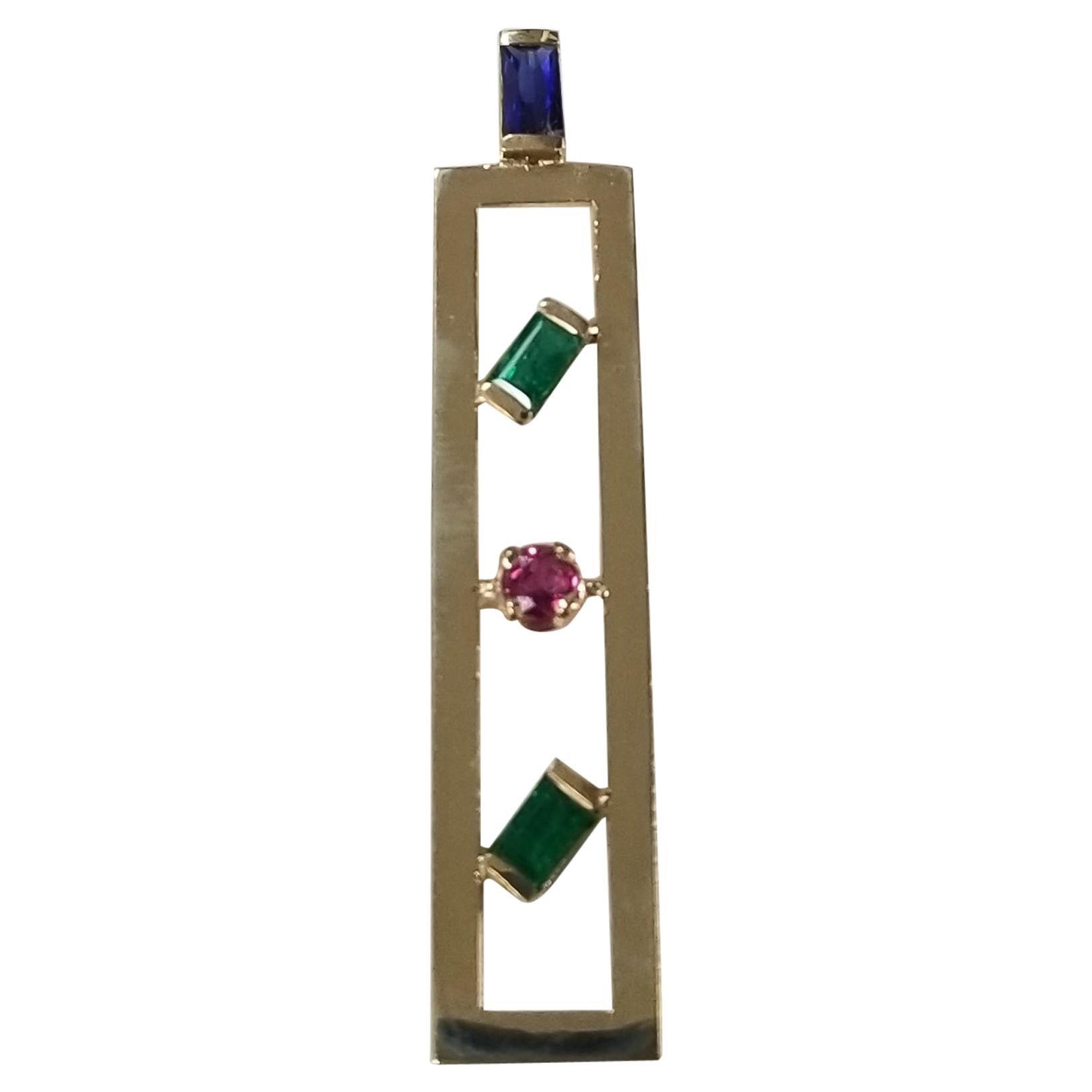 14 Karat Yellow Gold Multi-Color Gemstone Pendant