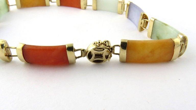 Women's 14 Karat Yellow Gold Multi-Color Jade Bracelet