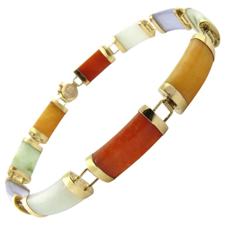 14 Karat Yellow Gold Multi-Color Jade Bracelet