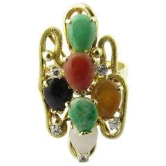 14 Karat Yellow Gold Multi-Color Jade Ring