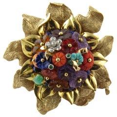 14 Karat Yellow Gold Multi Gem Flower Brooch Pin