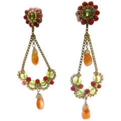 14 Karat Yellow Gold Multi-Gemstone Dangle Earrings