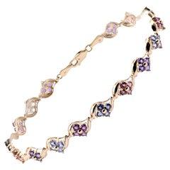 14 Karat Yellow Gold Multi-Gemstone Link Bracelet